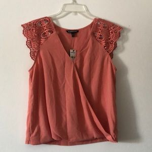 Express NWT Coral Top, Detailed Sleeves